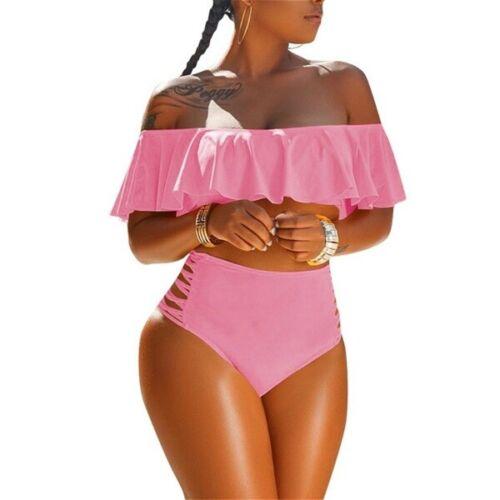 Plus Size Women Off Shoulder Ruffle Bikini Set Swimwear High Waist Bathing Suits