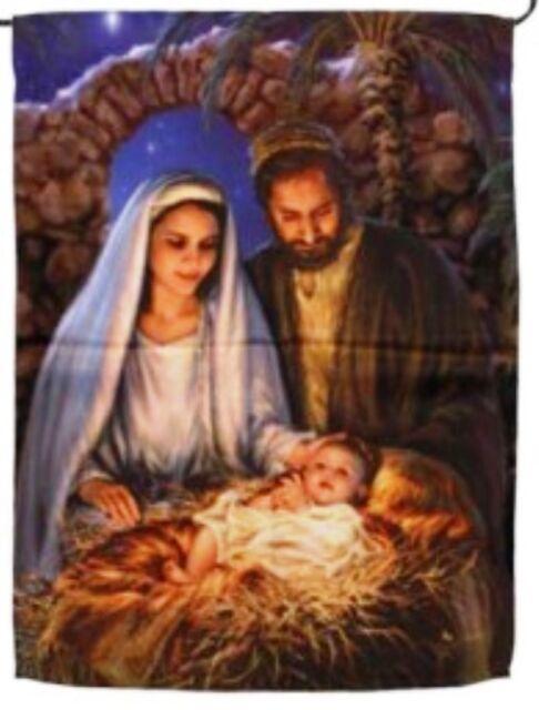 CHRISTMAS NATIVITY MANGER SCENE Holy Family Holiday 12.5 x 18