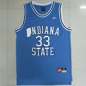 uk availability b1cb4 87b02 Details about Vintage Larry Bird Indiana State #33 blue jersey all size