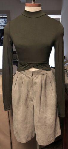 ANNE KLEIN *VINTAGE: Wide Leg Bermuda Suede Shorts