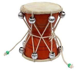 Handmade Damroo for Kids Indian Musical Instrument Orange Damru Toy Gift