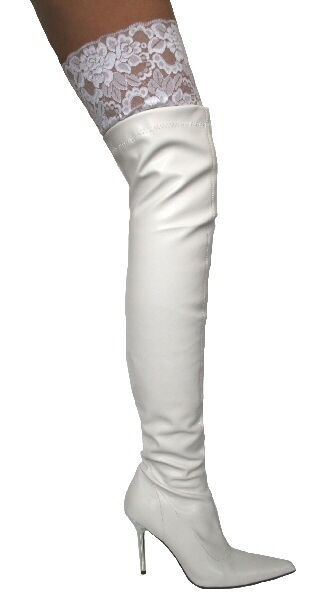 Lacy 02 White Patent 4  Stiletto Heel Lace Top Thigh High Boots Sizes UK 3 EU 36