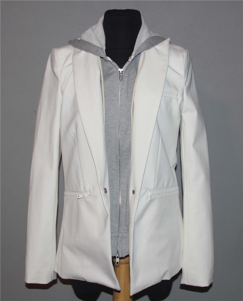 Peyton Jensen White Fitted Grey Jersey Layer Detachable Hood Blazer Wms XS EXC
