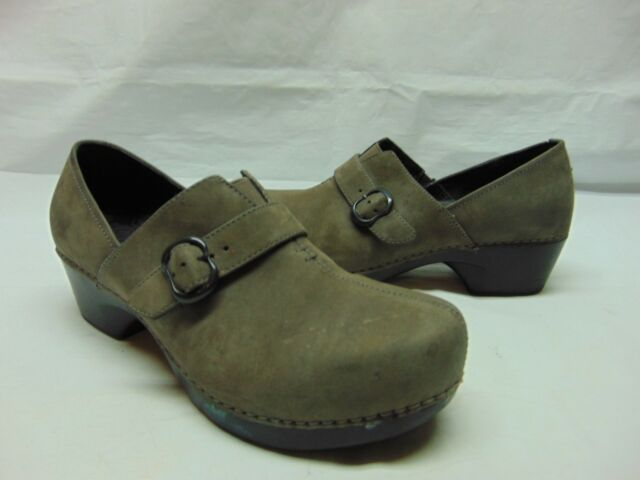 Dansko Women Heels Loafers Gray Leather Casual Slip On Clogs Buckle Shoes 39/8.5