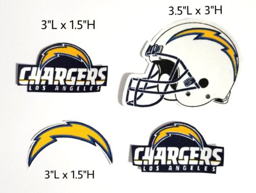 4pc Los Angeles Chargers fabric iron on applique logo Patch football NFL helmet