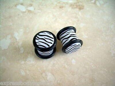 PAIR Black White Zebra Ear Plugs Double Grooved 0-Rings Gauges