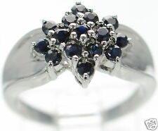 Solid 925 Sterling Silver Genuine Sapphire Flower Shaped Cluster Ring Size-9 '