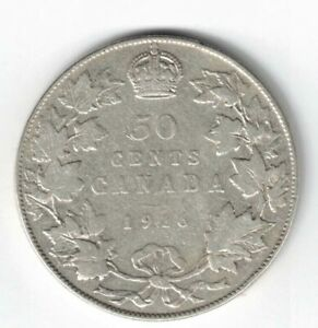 CANADA-1916-50-CENTS-HALF-DOLLAR-KING-GEORGE-V-STERLING-SILVER-CANADIAN-COIN
