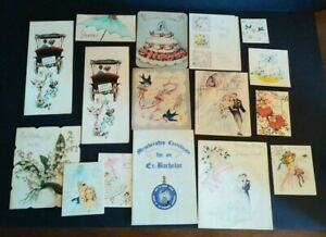 Vintage-Greeting-Card-Lot-of-16-Wedding-Bridal-Shower-Norcross-Rust-Craft