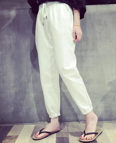Korean Women Casual Pants Long Trousers Summer Elastic Waist Loose Slim Harem F