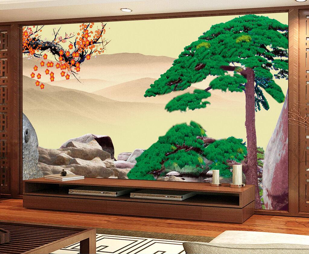 3D Green Pine Stones 7 Wall Paper Murals Wall Print Wall Wallpaper Mural AU Kyra