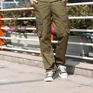 Hombre Pantalones Camo Militar Color Combate Delgado Plano Verde Front Nuevo Fit Ebay