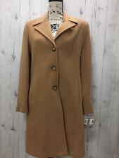 KRISTINE BLAKE Women's Camel 3 Button Wool & Cashmere Trench Coat NWT Size 8