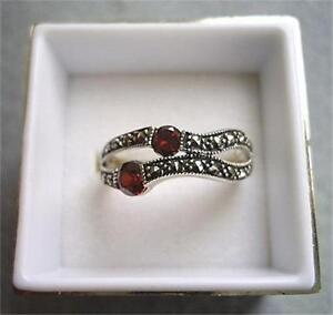 Beautiful-Genuine-Silver-Marcasite-amp-Garnet-CZ-Ring-Size-N-O