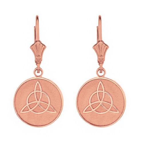 Solid 14k Rose Gold Triquetra Irish Celtic Disc Leverback Earrings