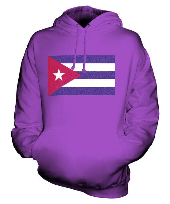 CUBA SCRIBBLE FLAG UNISEX HOODIE TOP GIFT CUBAN FOOTBALL