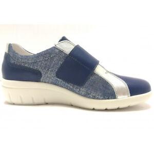 competitive price e8c73 d3ea8 Dettagli su Agora' Sneakers scarpe estive Donna Pelle Zeppa 45 Chiusura  strappo bianco blu