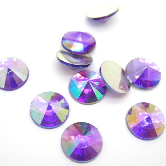 NEW 80pcs 12MM crystal flatback Scrapbooking for phone/wedding/crafts purple AB