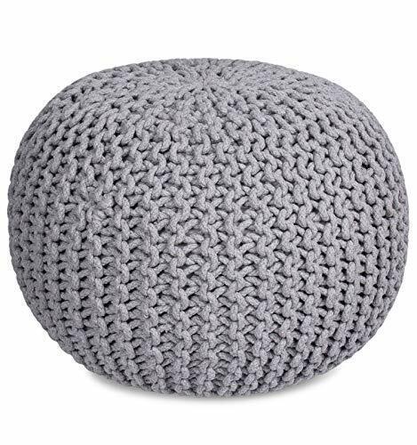 BIRDROCK HOME Round Pouf Foot Stool Ottoman - Knit Bean Bag Floor Chair - Cotton