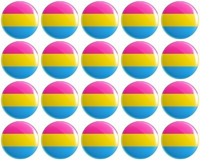 20 x Pansexual Pride Flag BUTTON PIN BADGES 25mm 1 INCHLGBTQ Rainbow