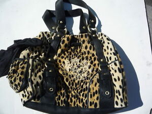 Juicy-Couture-leopard-yellow-black-spotted-velour-cloth-EX-cosmetic-condition