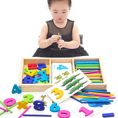 Kids Math Montessori Toy Wooden Counting Rods /& Number Cards with Box
