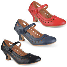 Womens low mid heel mary jane strap work classic vintage court shoes pumps size