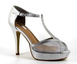 ec17bbaece Bellucci Womens UK 7 EU 40 Silver Shimmer Mesh Diamante Platform T ...