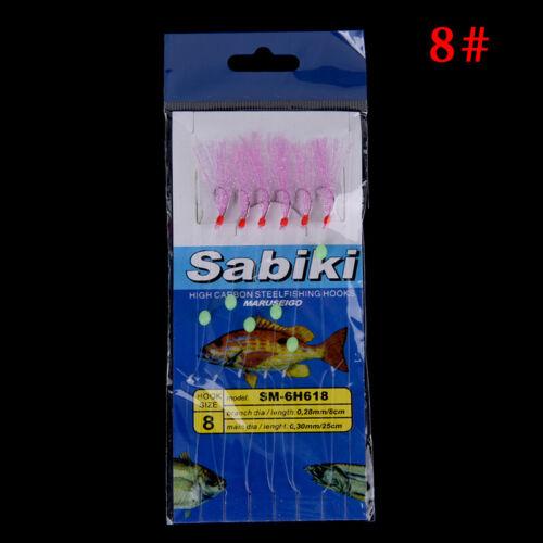 6x//Set Long Wire Bait luminous Fishing Lures Line String Carbon Steel Fishhook0U