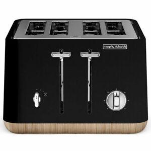 Morphy-Richards-240007-Scandi-Black-Aspect-4-Slice-Toaster-w-Wooden-Trim-Tray