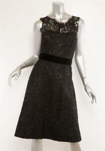 Dress Lhuillier Mouwloze 8 Black Velvet Belted Lace Sheer Womens Monique New g67bfy