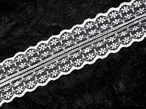 4-Meter-Spitzenband-Vintage-Tuellspitze-Rachelspitze-Borte-Borduere-47mm-Weiss