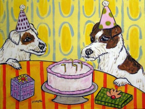 jack russell terrier BIRTHDAY 4x6 glossy animals impressionism  artist dog