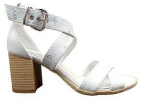 Sandali da donna Nero Giardini E115560D scarpe tacco medio comodo pelle bianchi