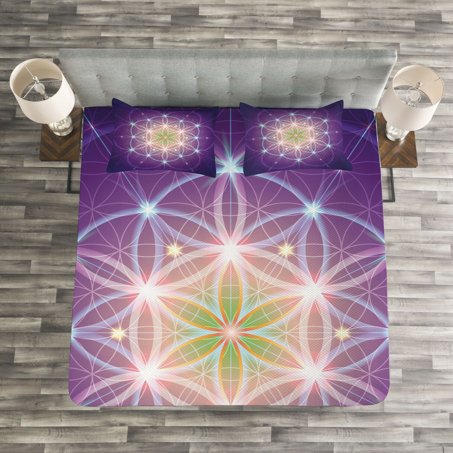Bohemian Quilted Bedspread & Pillow Shams Set, Sign of Cosmos Folk Print