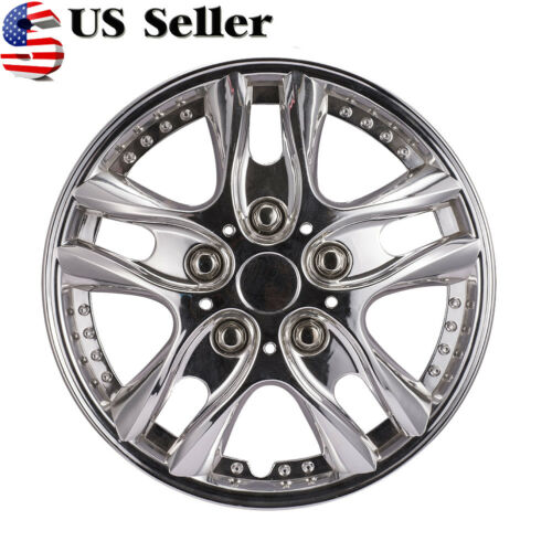 US Stock 4pcs 12 inch Car Vehicle Wheel Rim Skin Cover Silver Hubcap Wheel Cover