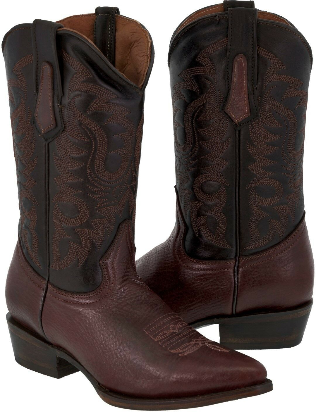 Men's Burgundy Bison Shoulder Cowboy Boots Buffalo Leather Cowboy Boots J Toe