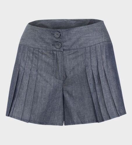LADIES PLEATED CHAMBRAY BLUE SHORTS ZIP/& BUTTON FASTENING SIZE 8-10-12-14-16-18