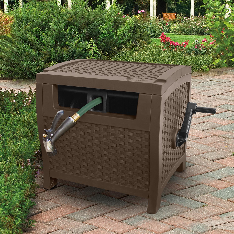 Water Hose Guide Hideaway 175 Ft. Resin Wicker Garden Storage Retractable Brown