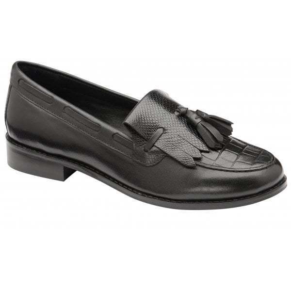 Ravel Tilden Noir Croc-imprimé en Cuir Talon Bas Tassel Loafers chaussures