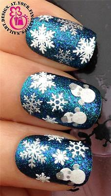 CHRISTMAS NAIL ART STICKERS DECALS SILVER WHITE GLITTER SNOWMEN SNOWFLAKES #833
