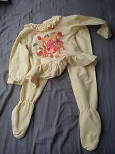 Vintage Strawberry Shortcake Girls Yellow Footie Feetie Pajamas Size 3