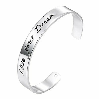 Fashion Silver Plated Cuff Bangle Letter Bracelet Gift Family Love Sweet Jewelry