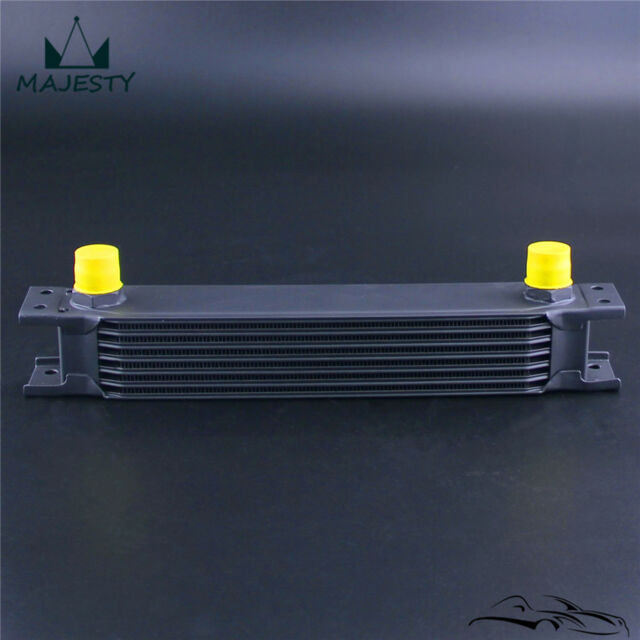 7 Row AN10 Engine Transmission Aluminum 248mm Oil Cooler Mocal Style Black