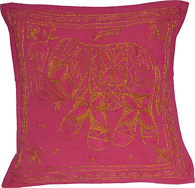 "Pink Elephant Cushion Covers 40cm 16"" INDIAN Handmade Cotton Golden Embroidered"