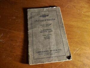 Original 1923 CHEVROLET OWNER INSTRUCTION MANUAL 4-90 & Superior Models