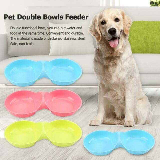 Dog Cat Double Bowl Puppy Food Water Feeder Pets Drinking Feeding Dishes