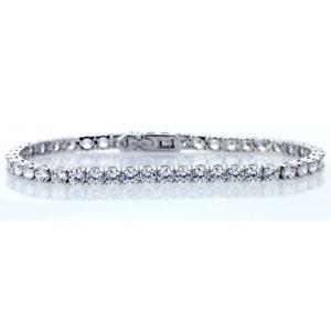 2 Mm Round Cut Zircone Cubique Zircon Cristal Tennis Bracelet en argent sterling .925