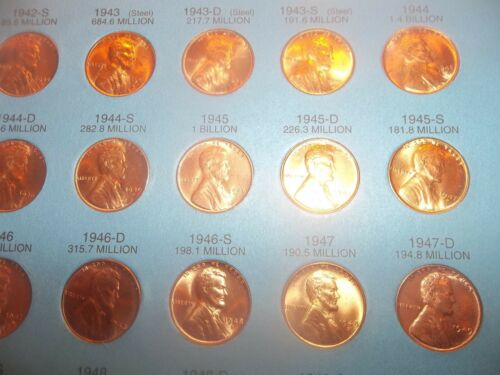 PDS 10 LINCOLN 1942 P    FULL MINT LUSTER BU  RED B.UNC