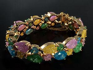 14k-Gold-GF-Bracelet-made-w-Authentic-Swarovski-Crystal-Ice-Multicolor-Stone